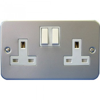 13A, 2 Gang Switch Socket Metal Clad - Pre-Packed